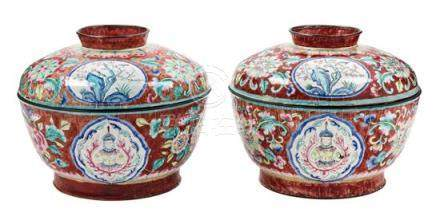 A Pair of Chinese Export Canton Enamel Covered Bowls