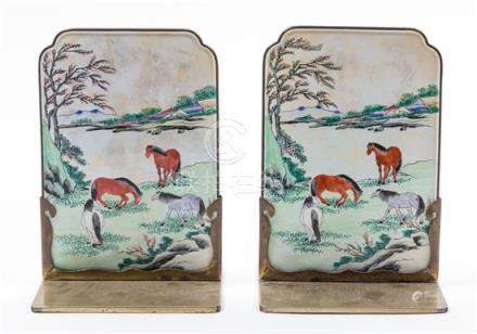 A Pair of Canton Enamel on Copper Bookends