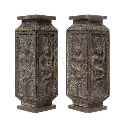 A Pair of Bronze 'Dragon' Square Vases