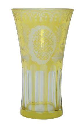 A BOHEMIAN CUT GLASS AND ETCHED VASE