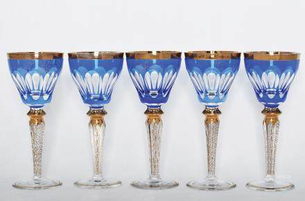 FIVE CRYSTAL WINE GOBLETS
