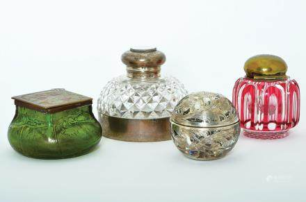 FOUR GLASS INKWELLS