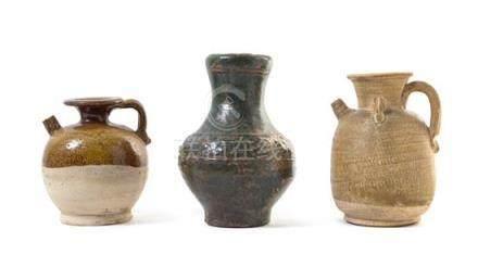 Three Monochrome Glazed Pottery Vessels