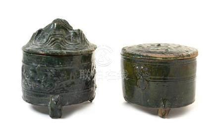Two Green Glazed Pottery Hill Jars, Lian