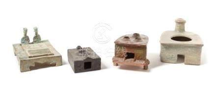 Four Glazed Pottery Models of Stoves