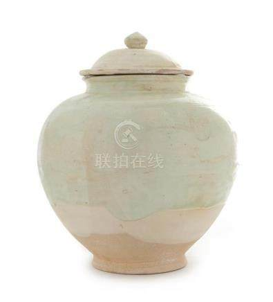 A White Glazed Pottery Jar and Cover