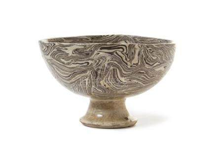 A Marbled Pottery Stem Bowl