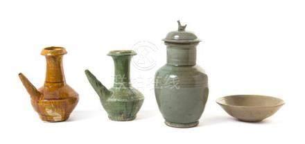 Four Monochrome Glazed Ceramic Vessels