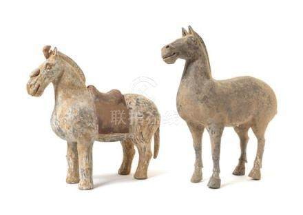 Two Pottery Figures of Horses