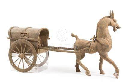 A Large Pottery Model of a Horse Cart