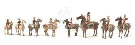 Eight Painted Pottery Equestrian Figures