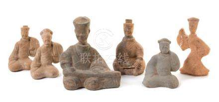 Six Pottery Figures of Musicians and Dancers