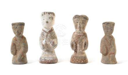 Four Painted Pottery Figures of Attendants