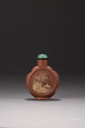 A Yixing 'landscape' snuff bottle