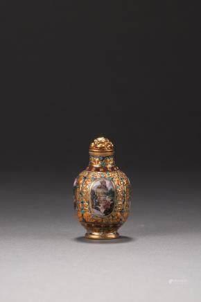A famille rose enamelled landscape snuff bottle