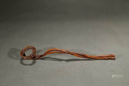 A bamboo naturalistic ruyi scepter