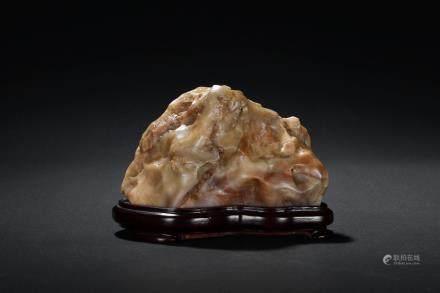 A naturalistic shoushan soapstone scholar's rock