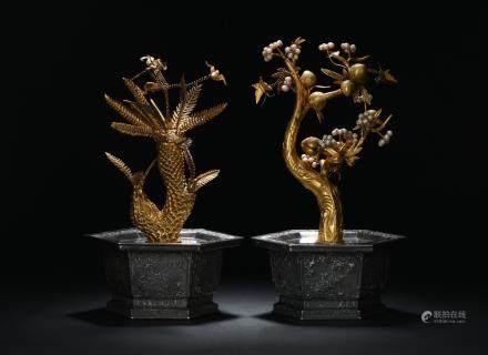 Pair of silver hexagonal pearl-adorned gilt bonsai