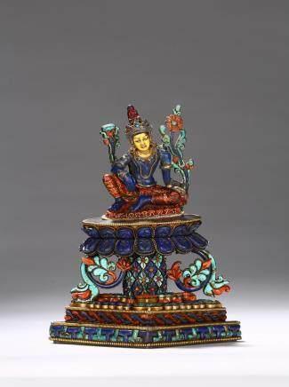 A Nepalese lapis lazuli gems inlaid bodhisattva