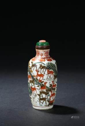 A famille rose 'hundred deer' snuff bottle