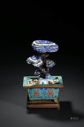 A lapis lazuli lingzhi cloisonne enamel jardinière