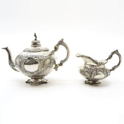 Amsterdam Silver Teapot and Creamer