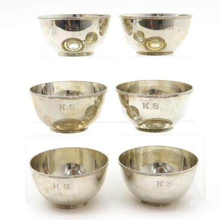 Lot of 6 Silver Finger Bowls