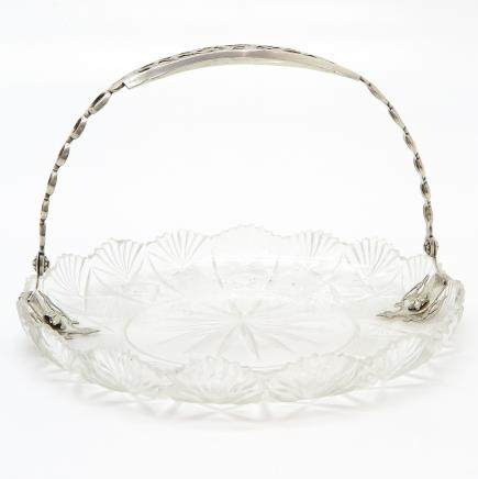 Crystal Plate with Silver Handle