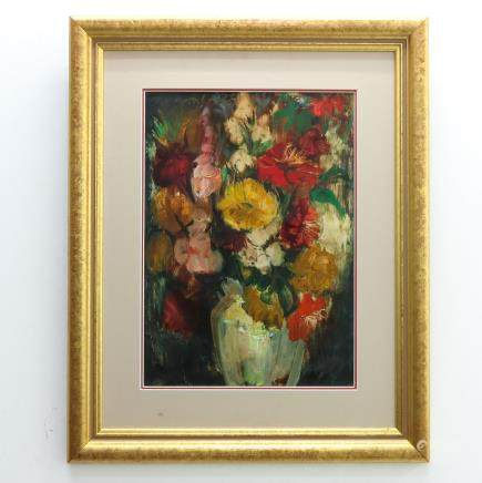 Signed Floral Oil on Paper
