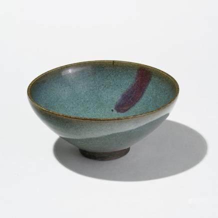 Bol Jun Yao, Chine, style dynastie Song Porcelaine émaillée, turquoise et mauve, H 8,5 cm, D 18,5 cm
