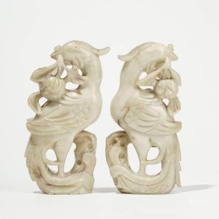 Paire d'oiseaux Fenghuang, Chine Pierre dure sculptée, H 20 cm