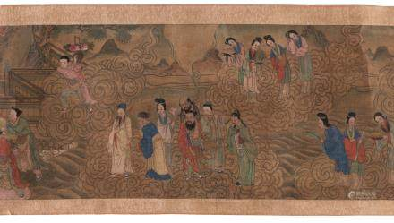A Chinese scroll depicting the celebration of the birthday of the Gods of Good Fortune Fu - Lu - Shou Xing surrounded by their guests