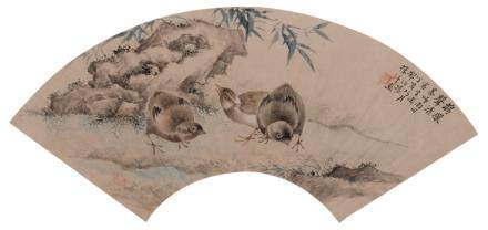 A Chinese watercolour depicting quails in a mountainous landscape