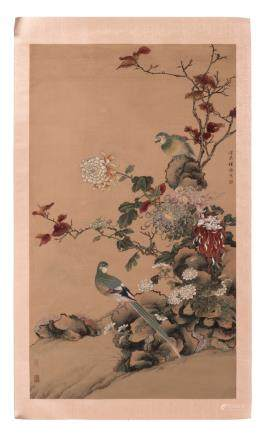 A Chinese watercolour depicting birds in a flowered environment