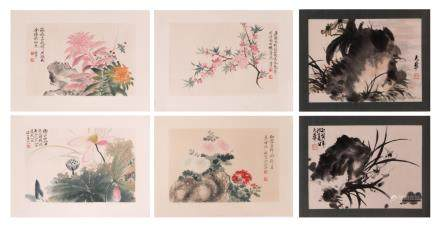 A lot of four Chinese woodcuts and two ditto watercolours depicting blossoms and flowers