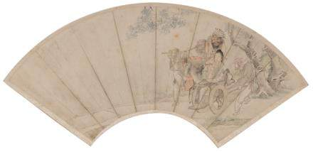 A Chinese fan shaped watercolour depicting a travelling courtesan accompanied by her Western servant