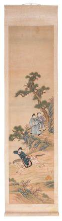 Ten Chinese scrolls depicting daily life court scenes / scenes at a dignitaries house