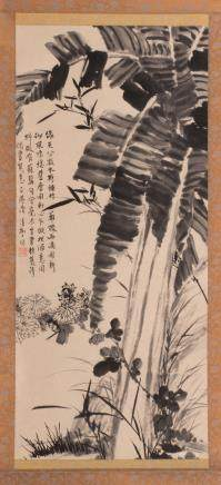 A Chinese scroll depicting various flowers and vegetation