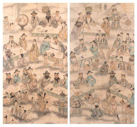Two framed Chinese scrolls depicting the ten Buddhist kings of hell