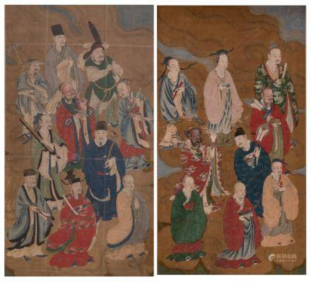 A pair of Chinese watercolours on textile depicting various figures of the pandemonium