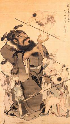 A fine Chinese watercolour depicting an animated scene