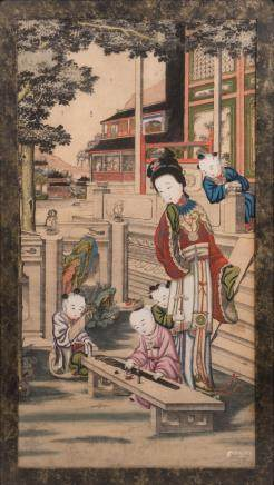 A Chinese hand coloured woodcut depicting an animated scene with a court lady and children