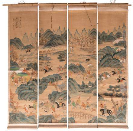 A Chinese scroll depicting Mongolian riders and travellers in a mountainous landscape