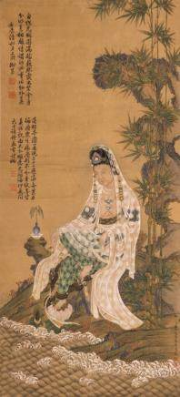 A Chinese scroll depicting Guanyin situated in a landscape near a rippling river