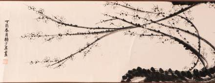 A Chinese scroll depicting blossoms on a branch