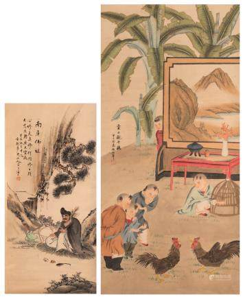 A Chinese scroll depicting children watching a cock fight
