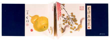 A luxurious art edition with 12 (woodcuts) after the work of the Chinese artist Qi Baishi