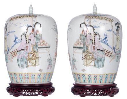 A pair of Chinese polychrome ginger jars and covers