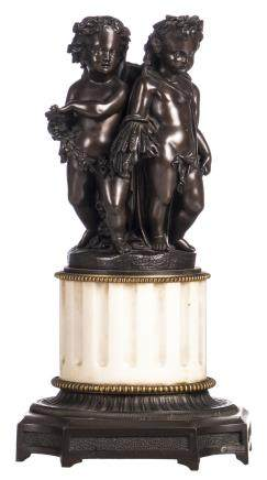 A bronze group of figures with an allegorical representation of the four seasons