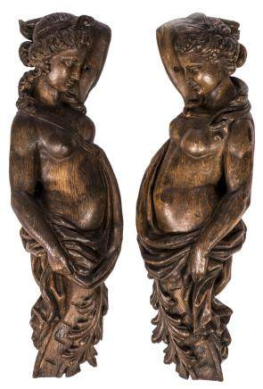Two 18thC oak cariatides